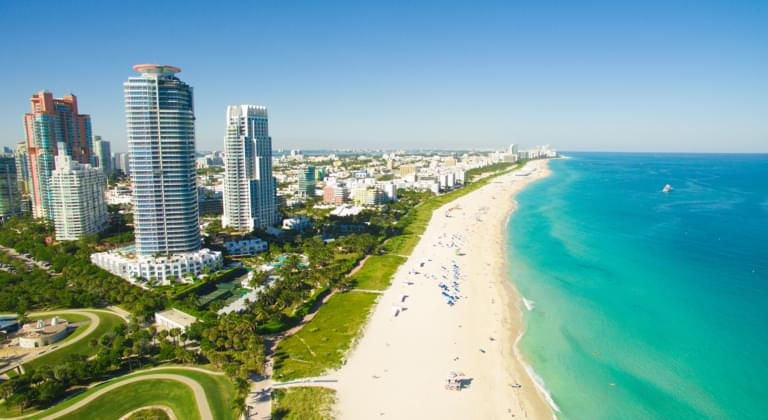 Blick auf Miami Beach in Florida USA
