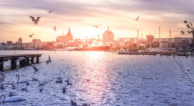 Blick auf Rostock am Morgen