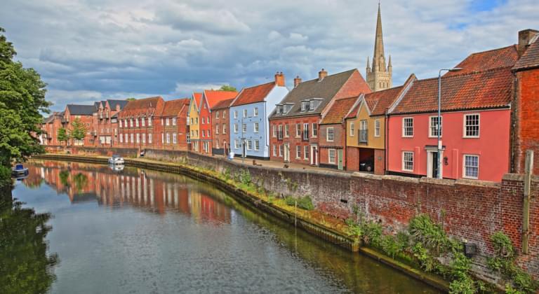 Der Fluss Wensum in Norwich, England