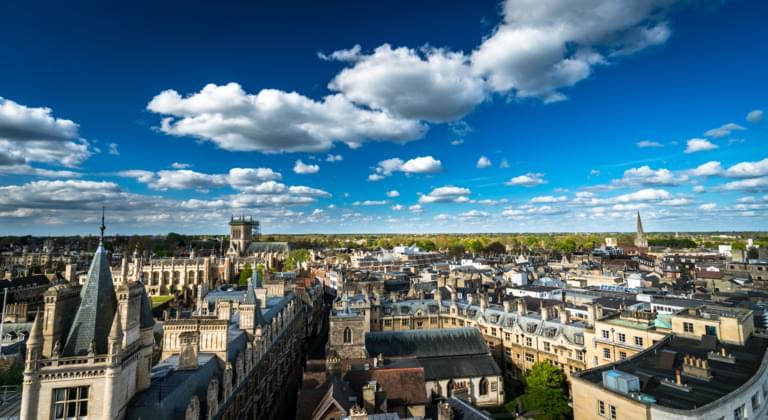 Blick auf die Stadt Cambridge