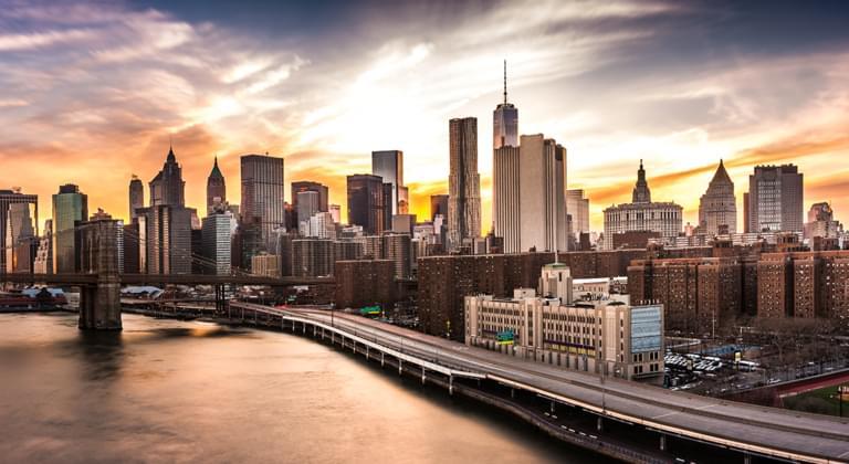 New York bei Sonnenuntergang