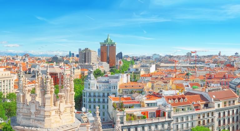 Blick auf die Skyline von Madrid, Spanien